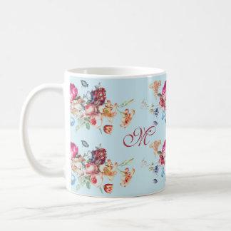Elegant, vintage flower bouquets. Light blue Coffee Mug