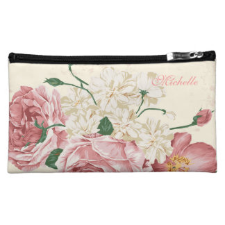 Elegant Vintage Flowers Makeup Bag