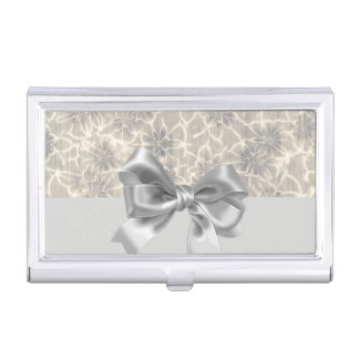 Elegant Vintage Flowers Pattern-Gray Bow Business Card Cases