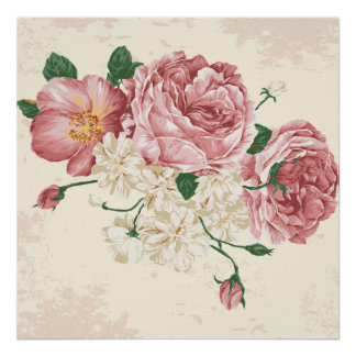 Elegant Vintage Flowers Poster