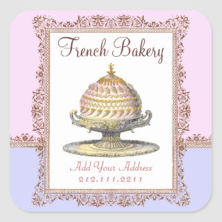 Elegant Vintage French Bakery Birthday Cake Square Sticker