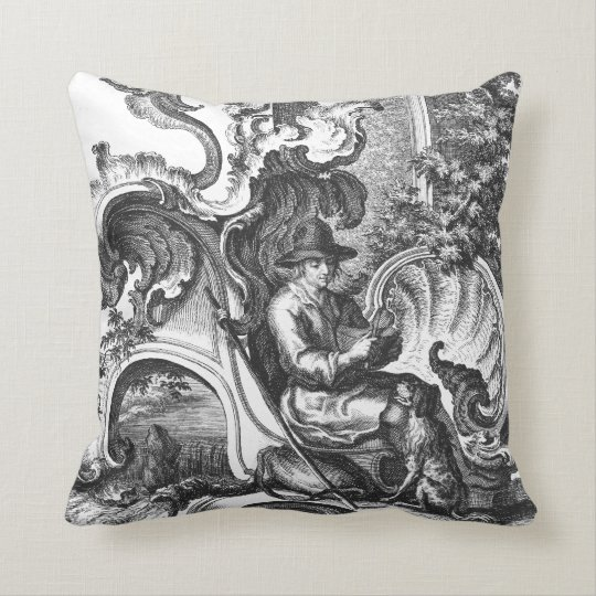 Elegant Vintage French Black and White Toile Cushion