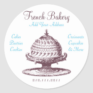 Elegant Vintage French Pastries: Bakery, Cake Shop Classic Round Sticker