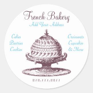 Elegant Vintage French Pastries: Bakery, Cake Shop Round Sticker