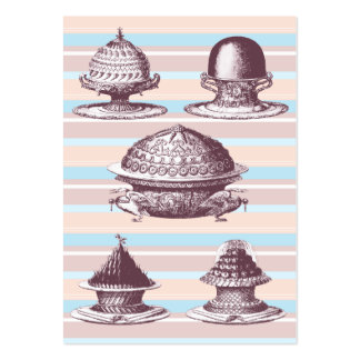 Elegant Vintage French Pastries Bakery Pack Of Chubby Business Cards