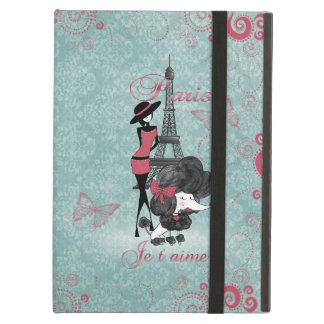 Elegant vintage French poodle girls silhouette Cover For iPad Air