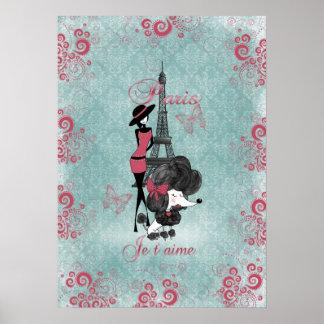 Elegant vintage French poodle girls silhouette Poster