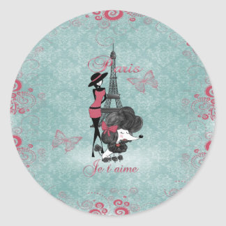 Elegant vintage French poodle girls silhouette Round Sticker