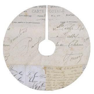 Elegant Vintage French Postcards Handwriting Brushed Polyester Tree Skirt