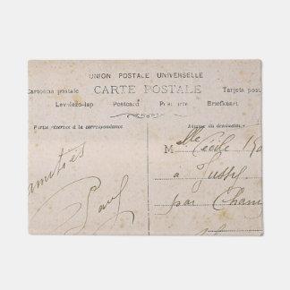 Elegant Vintage French Postcards Handwriting Doormat