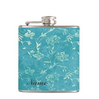 Elegant vintage gentle floral pattern custome name hip flask