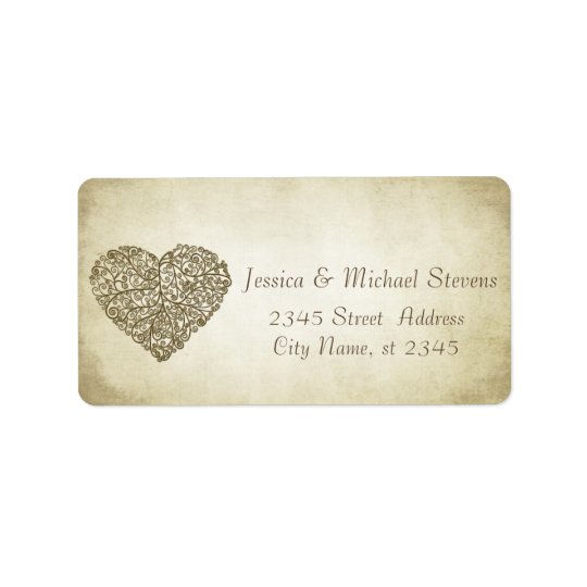 Elegant vintage gentle wedding abstract heart address label