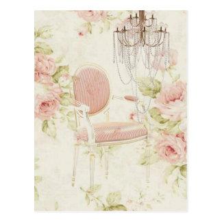 Elegant vintage girly floral paris fashion postcard