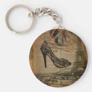 elegant vintage girly paris fashion keychain