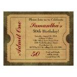 Elegant Vintage Gold Admit One 50th Birthday/Party