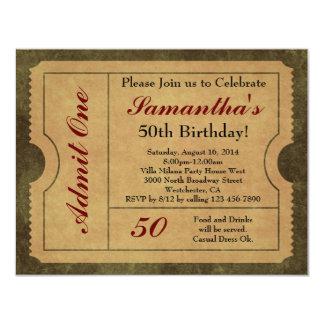Elegant Vintage Gold Admit One 50th Birthday/Party 11 Cm X 14 Cm Invitation Card