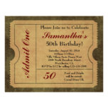 Elegant Vintage Gold Admit One 50th Birthday/Party Personalized Invitations