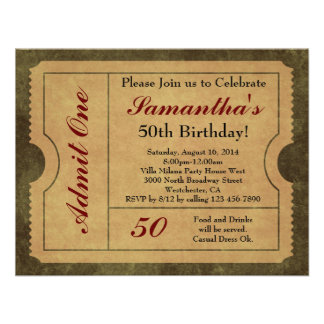 Elegant Vintage Gold Admit One 50th Birthday Party Personalized Invite