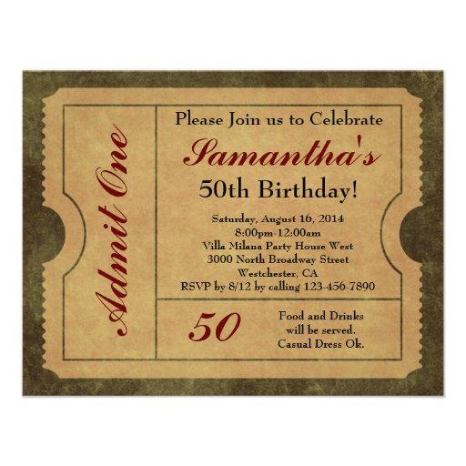 Elegant Vintage Gold Admit One 50th Birthday/Party Personalized Invite