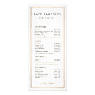 Elegant Vintage Gold Border Price List Menu Customised Rack Card