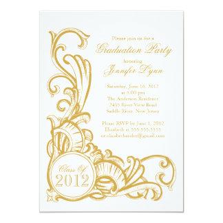 Elegant Vintage Gold Graduation Party Invitation