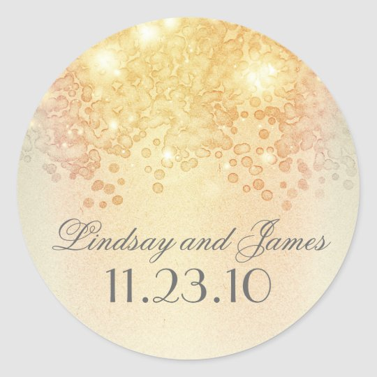 Elegant Vintage Gold Lights Wedding Classic Round Sticker