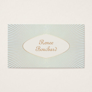 Elegant Vintage Gold Sunburst Light Sage Blue Chic Business Card
