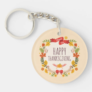 Elegant Vintage Happy Thanksgiving | Keychain