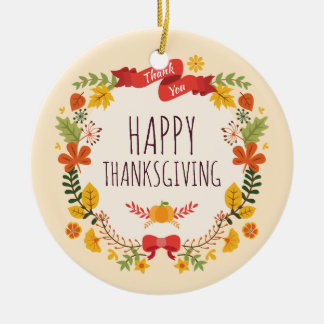 Elegant Vintage Happy Thanksgiving | Ornament
