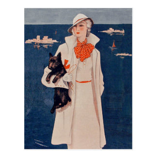 Elegant Vintage Lady with Scotty Dog Postcard