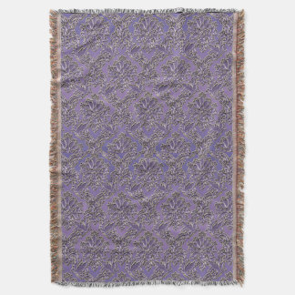 Elegant Vintage Lavender Damask Throw Blanket