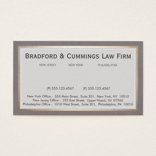 Elegant Vintage Law Firm Attorney Business Card