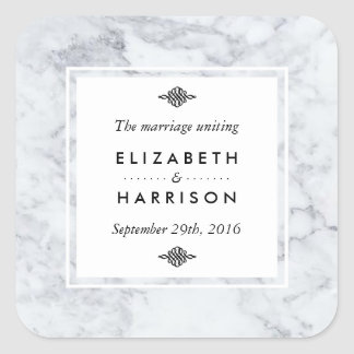 Elegant Vintage Marble Wedding Favor Square Sticker
