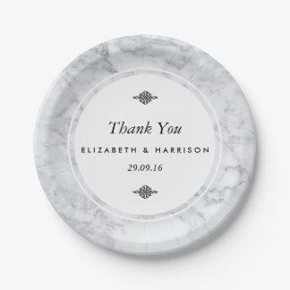 Elegant Vintage Marble Wedding Paper Plate