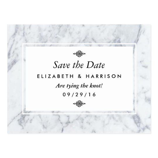 Elegant Vintage Marble Wedding Save The Date Postcard