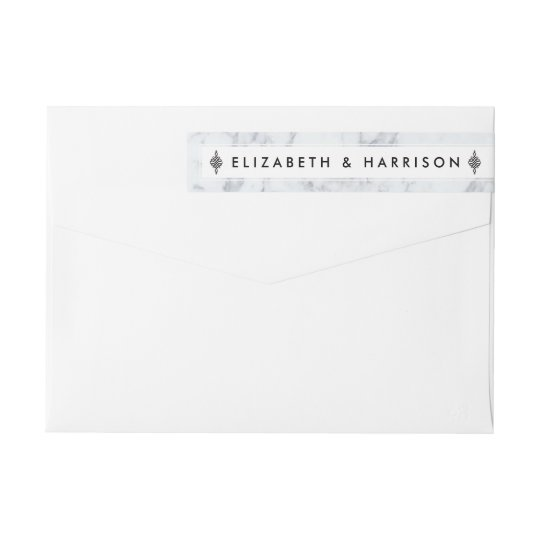 Elegant Vintage Marble Wedding Wrap Around Label