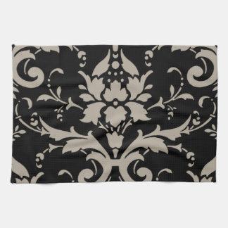 Elegant Vintage Modern Silver Damask on Black Towe Tea Towel