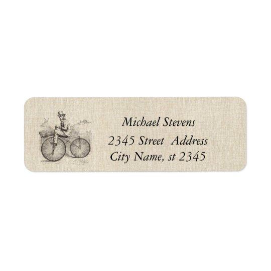 Elegant vintage old bike linen return address label