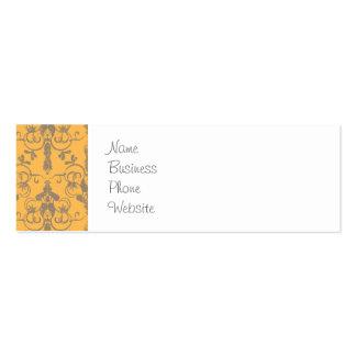 Elegant Vintage Orange Gray Damask Floral Pattern Business Card Templates