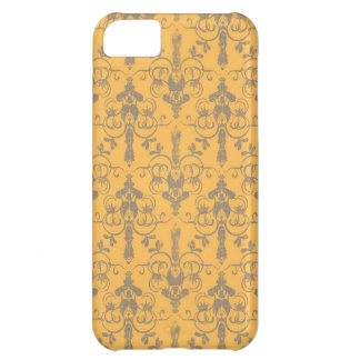 Elegant Vintage Orange Gray Damask Floral Pattern iPhone 5C Case