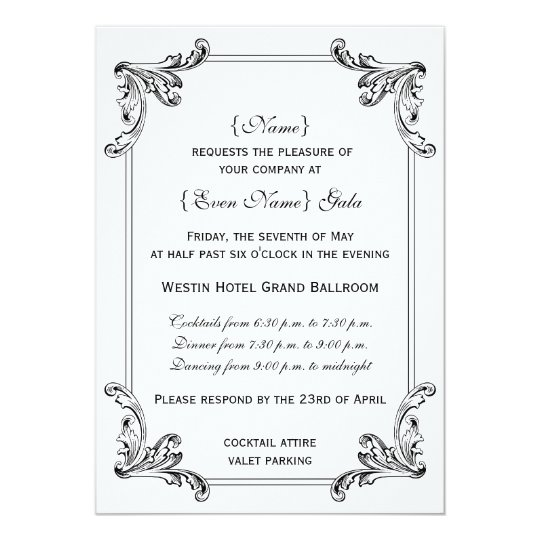 Elegant Vintage Ornament Formal Invitation