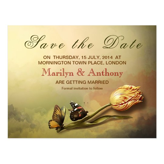 elegant vintage painting save the date postcards