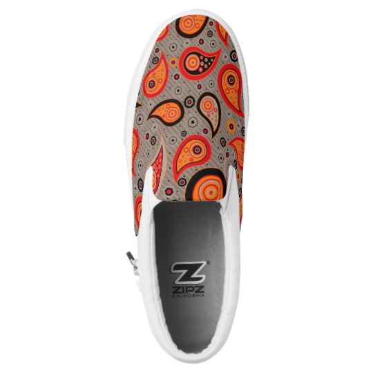 Elegant vintage paisley pattern red orange Slip-On shoes