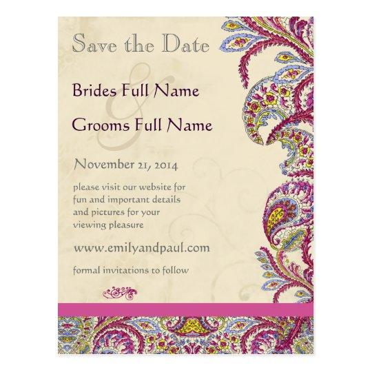 Elegant Vintage Paisley Wedding Save the Date Postcard