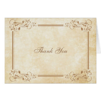 Elegant Vintage Parchment Thank You Cards