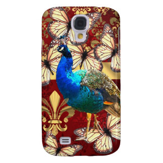 Elegant vintage peacock and red  damask galaxy s4 case