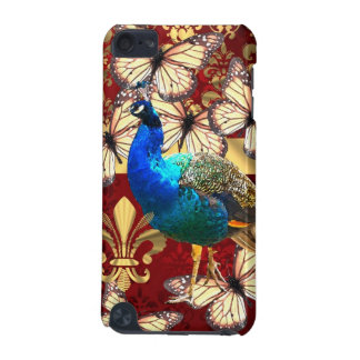 Elegant vintage peacock and red  damask iPod touch (5th generation) cover