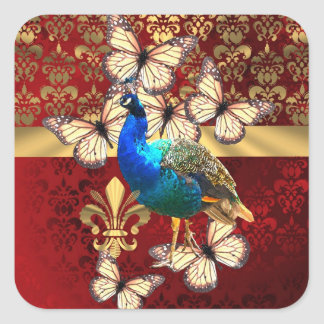 Elegant vintage peacock and red  damask square sticker
