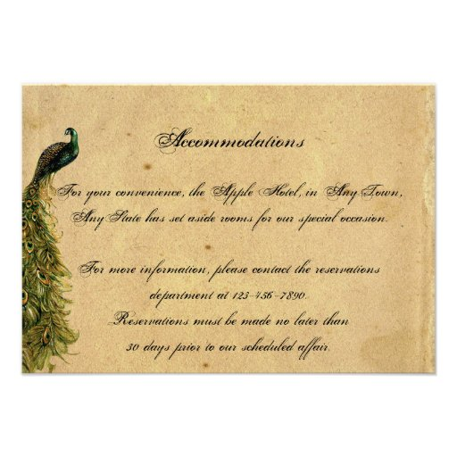 Elegant Vintage Peacock Posh Wedding Insert Personalized Announcements