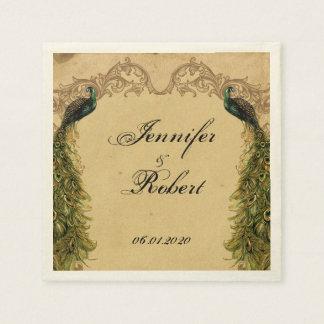 Elegant Vintage Peacock Posh Wedding Napkin Disposable Napkin
